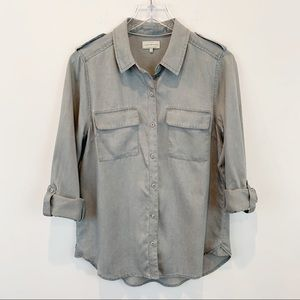 Lucky Brand   Button Down Shirt Top Tencel Size M
